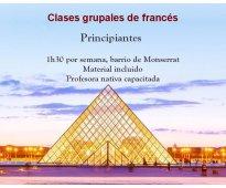 Francés principiantes grupal monserrat con profesora nativa