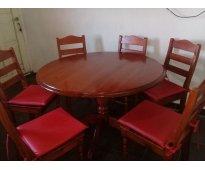 Mesa de madera mas 6 sillas