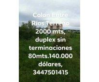En Colón Entre Ríos terreno y vivienda en venta