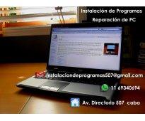 Instalacion de programas y reparacion de PC.