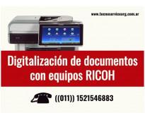 Digitalización de documentos con equipos RICOH - Venta - Alquiler
