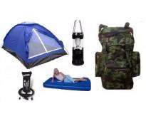 Carpa, colchon inflable, inflador, mochila y farol, camping.