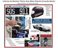 Informe de Dominio Patente Titular Auto Moto Agro Dueño Vehiculo