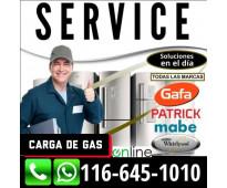 SERVICE HELADERAS CARGA GAS AIRE PALERMO BELGRANO NUÑEZ BALVANERA V. LURO