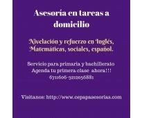 REFUERZO ESCOLAR, ASESORÍA EN TAREAS A DOMICILIO
