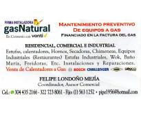 MANTENIMIENTO ESTUFA Y CALENTADORES A GAS