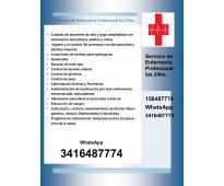 Servicio de enfermería profesional las 24hs.