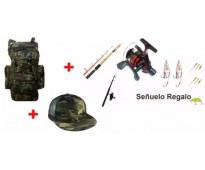 Caña telescopica+ reel de 3 rulemanes con tanza + accesorios y señuelo+ mochila...