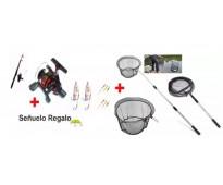 Carpa + caña con reel 3 rulemanes, tanza, accesorios y señuelo + red copo