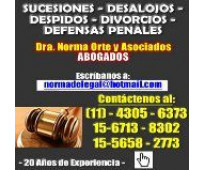 Abogados divorcios despidos desalojos penal sucesiones 4305-6373