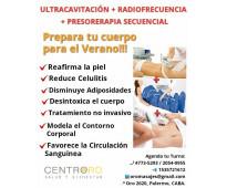 Ultracavitación + radiofrecuencia + presoterapia