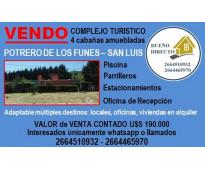 dueño vendo complejo turistico en San Luis