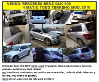 VENDO MERCEDES BENZ MODELO SUV GLK300  4 MATIC TODO TERRENO  IMPECABLE