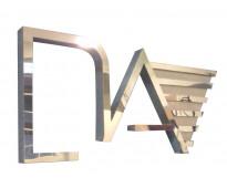 Logo de acero espejado en Burzaco