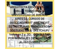 Arquitecta da cursos de dibujo técnico con Autocad Rhino, Sketchup Consultar al...