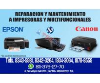 Reparacion de impresoras epson, hp y canon