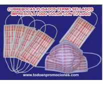 Cubrebocas personalizados plisados termosellados con tu logo
