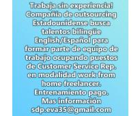 Trabaja sin experiencia! se busca talento bilingue
