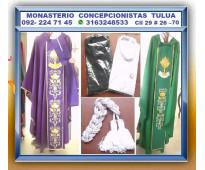 ⭐ ornamentos liturgicos, casullas, albas, camisas con cleriman clerical de sacer...